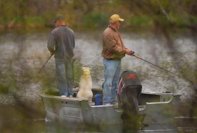 ONE Fishermen with dog