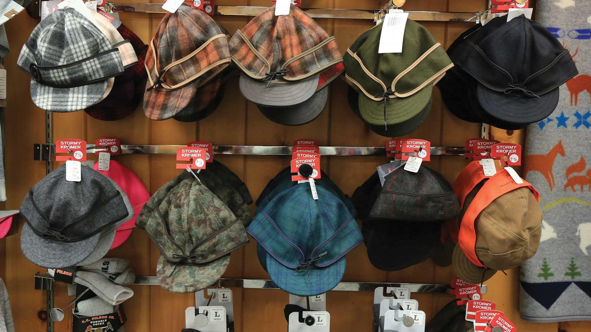 Ross Sportswear hats on display