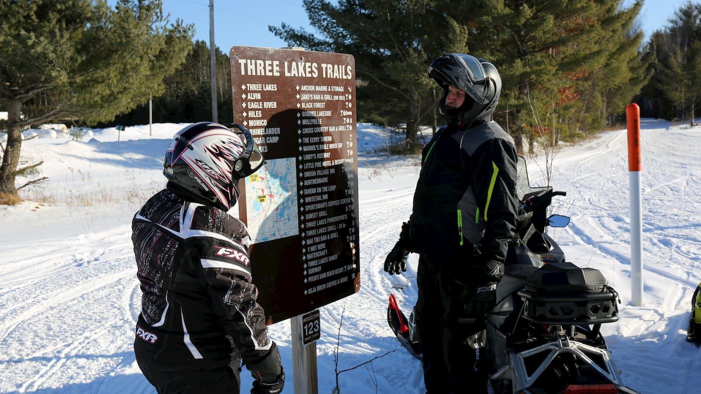 Snowmobilers in Oneida County Wisconsin
