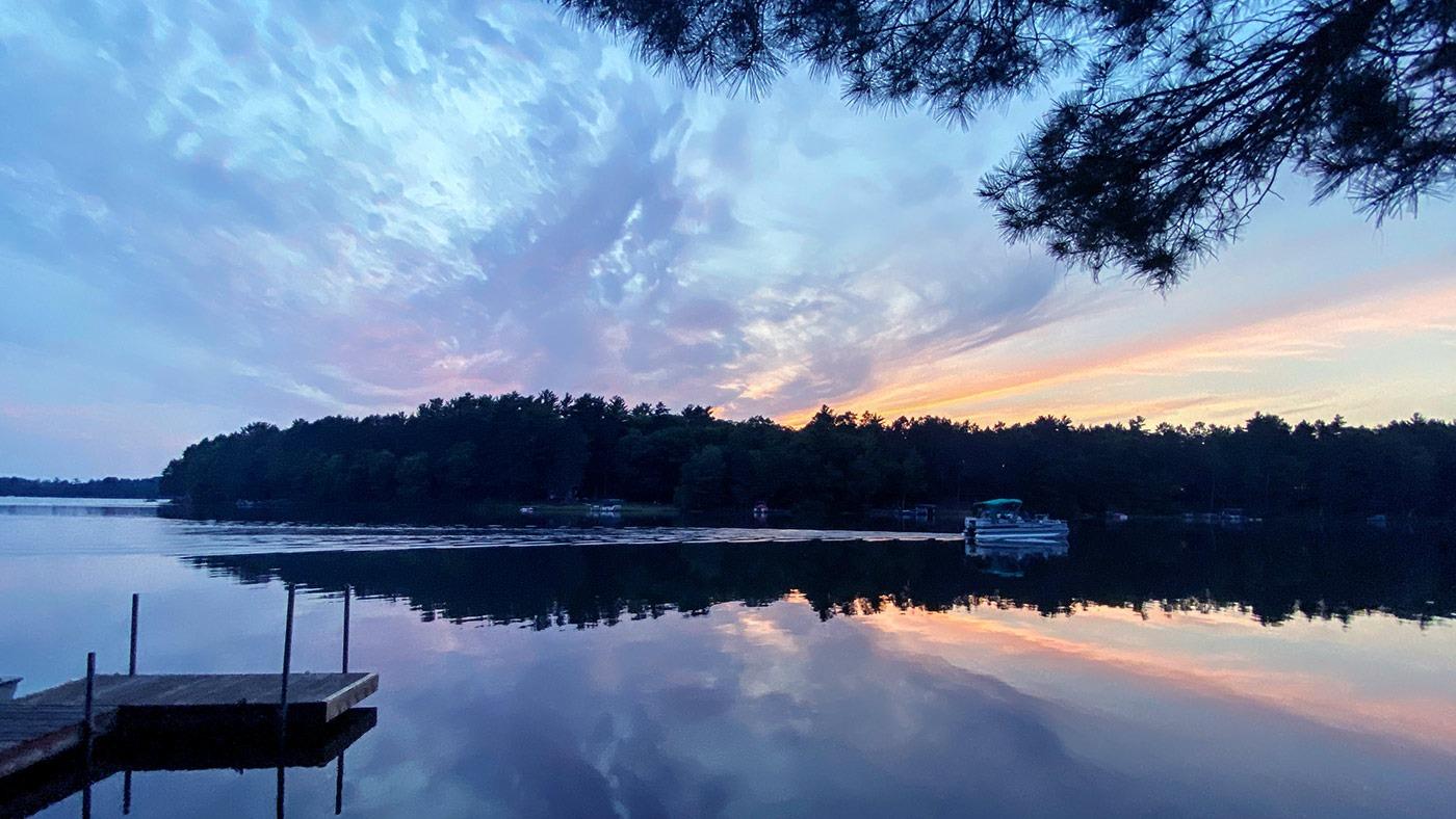 Sunset over lake Oneida County Wisconsin